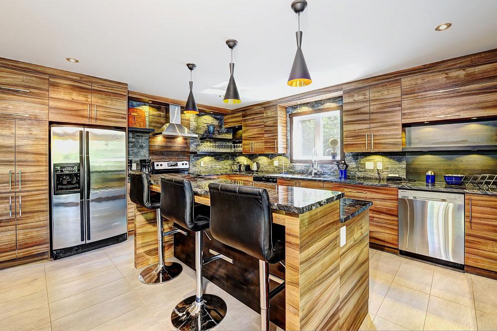 Cuisine design, 7 Chemin Blanc, Stoneham - Leblanc Construction